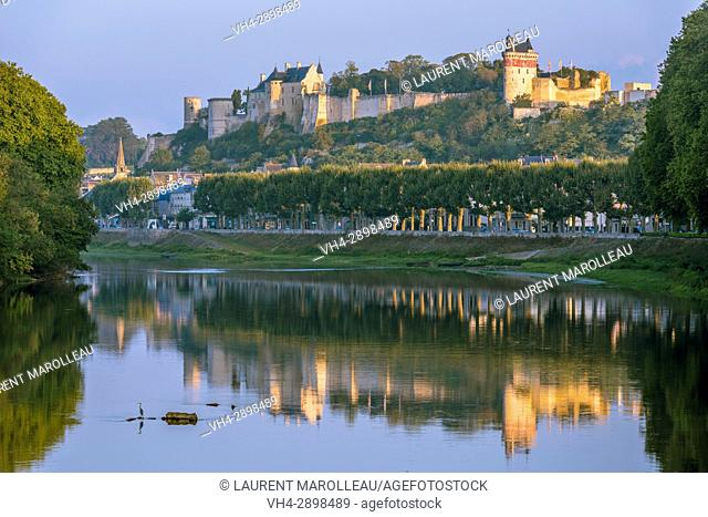 The banks of Vienne River, the City and the Royal Fortress of Chinon. Indre-et-Loire Department, Centre-Val de Loire Region, Loire valley, France, Europe