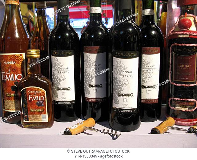 Bottles of Fallabrino Uruguayan Wines and Liquor Drinks, Montevideo, Uruguay, South America