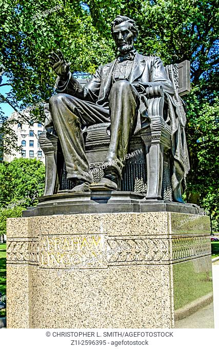 Indianapolis, IN, USA - July 6, 2006: Statue of Abraham Lincoln in University Park, Indianapolis
