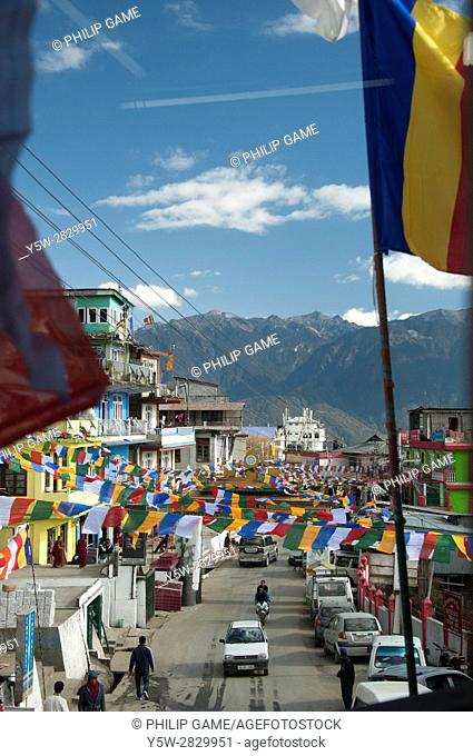 Tawang in Arunachal Pradesh, NE India, near the border with Chinese-occupied Tibet,is bedecked with banners for the arrival of the 17th Karmapa Lama