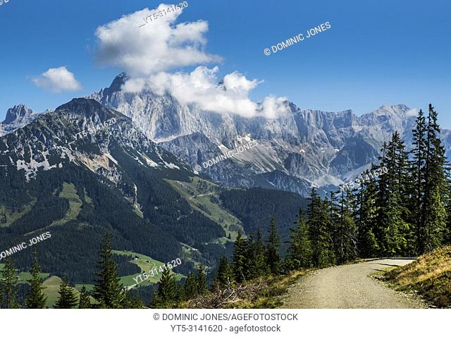 A view from Rossbrand looking across to the Torstein (2454m) and Hoher Dachstein (2995m), Austria, Europe