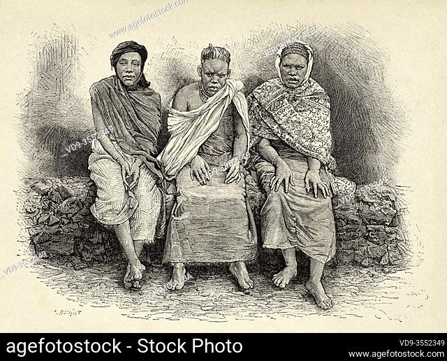 Three women from the country of Gambaragara (at present Uganda), belonging to the expeditionary corps, expedition of Stanley. Central Africa