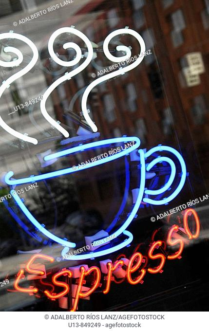 Neon Sign at Coffe Shop in Seattle
