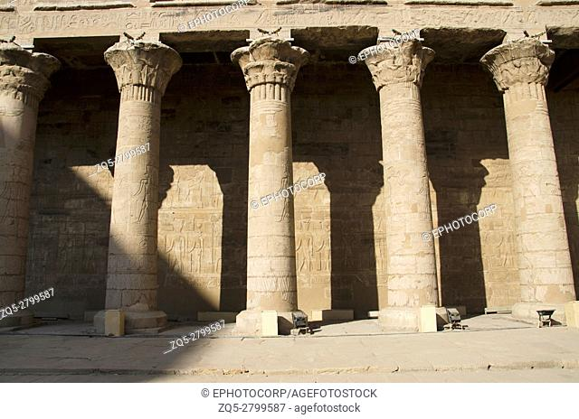 Partial view of Edfu Temple, It is one of the best preserved shrines in Egypt, Dedicated to the falcon god Horus, Was built in the Ptolemaic period between 237...