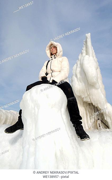 Icy pier, frozen Black Sea, a rare phenomenon, last time it occured in 1977, Odessa, Ukraine, Eastern Europe
