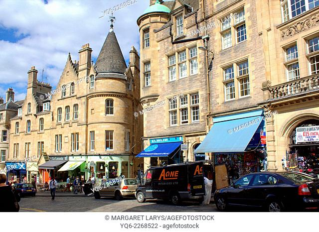 Architecture in the Streets of the Old Town of the city of Edinburgh in Scotland, United Kingdom