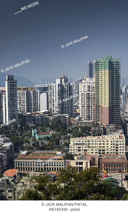 urban skyline view from Guia Fortress with tower blocks in central macau city china