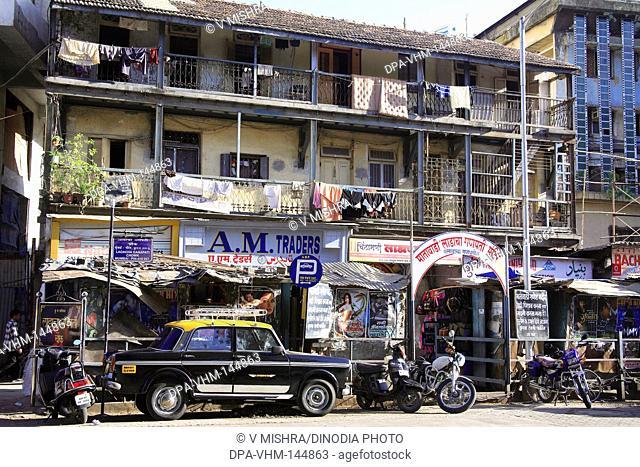 Old Matawadi building chawl and Ladacha ganpati temple at Maulana Shaukatali road ; Grant road ; Bombay now Mumbai ; Maharashtra ; India