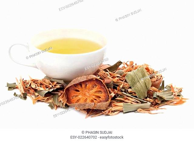 A cup of herbal tea on white background