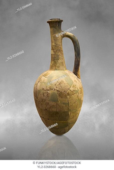 Hittite long neck pointed base terra cotta vessel. Hittite Old Period, 1650 - 1450 BC. Huseyindede. Çorum Archaeological Museum, Corum, Turkey