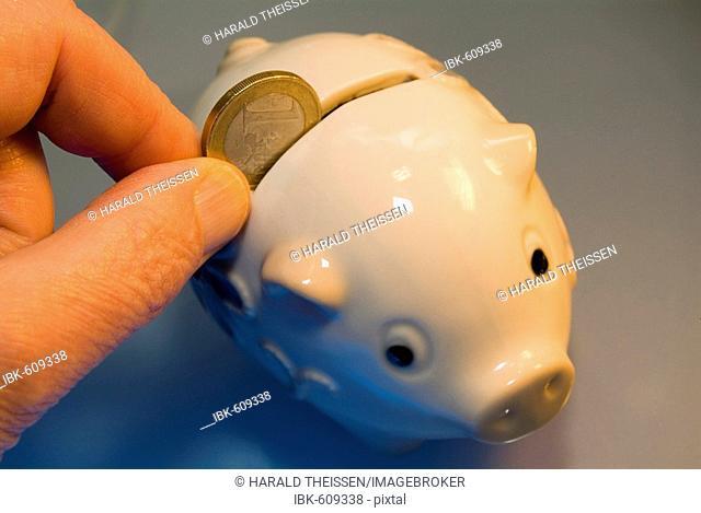 Finger feeding piggy bank with an euro coin