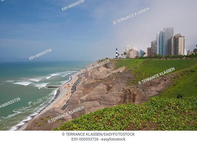 The Miraflores coastline in Lima, Peru, South America