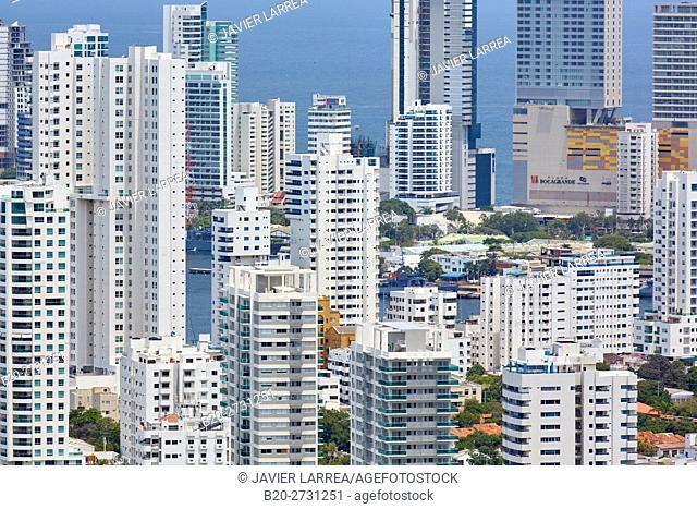 Bocagrande, view from the Cerro de la Popa, Apartment buildings in residential district. Cartagena de Indias, Bolivar, Colombia
