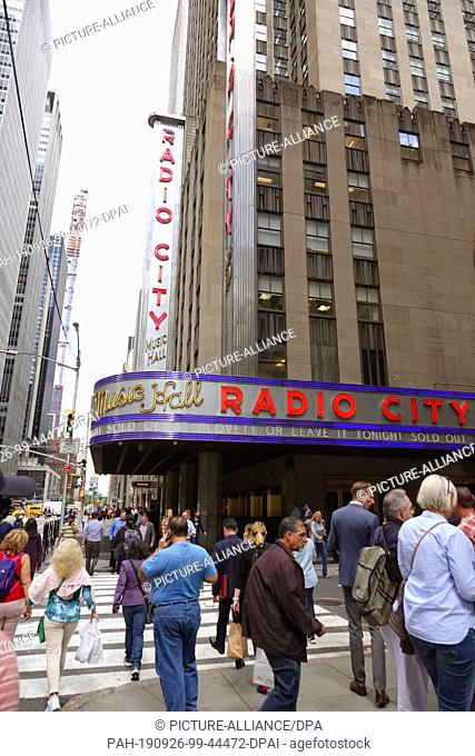 13 September 2019, US, New York: The Radio City Music Hall in Manhattan. The Radio City Music Hall was built in the 1920s and opened in 1932