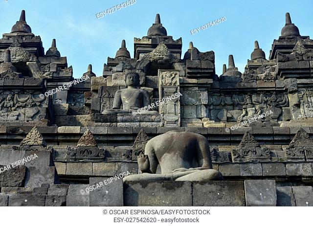 Buddhist temple of Borobudur in Yogyakarta, Java, Indonesia