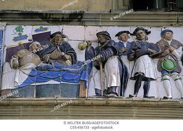Detail of frieze, Ospedale del Ceppo (13th century), Pistoia. Tuscany, Italy