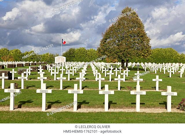 France, Somme, Albert, Battle of the Somme in 1916, National Necropolis where 6290 soldiers are buried in 3011 in which four ossuaries