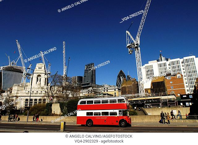 London Bus and a View of The Gherkin Building, London, United Kingdom, Europe