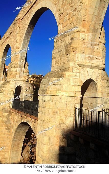 Los Arcos aqueduct-viaduct. . Renaissance style o the XVI century. Teruel
