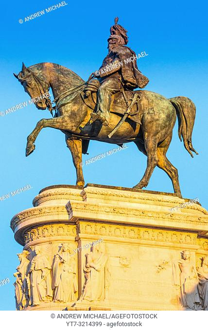The equestrian statue of Victor Emmanuel on the Monument to Vittorio Emanuele II, Rome. Italy