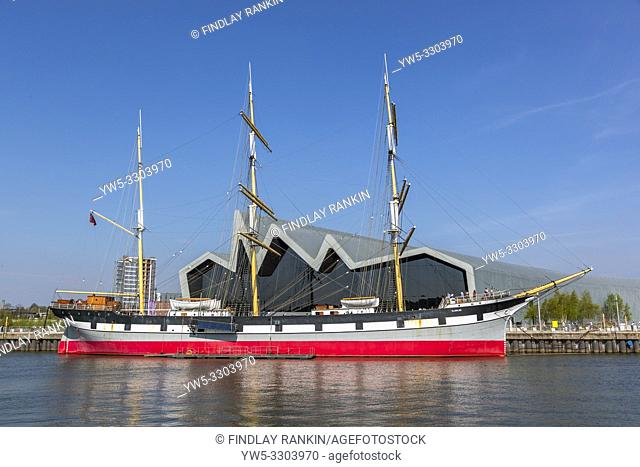 Glenlee tall ship, built in 1896, a three masted barque, now berthed on the River Clyde at the Riverside transport museum, Glasgow, Scotland, Uk