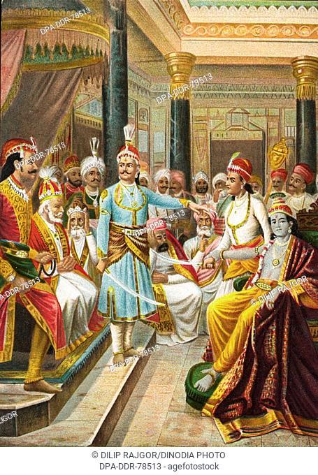 Lord Krishna as an Ambassador at the court of Duryodhan before the war of Mahabharata , India