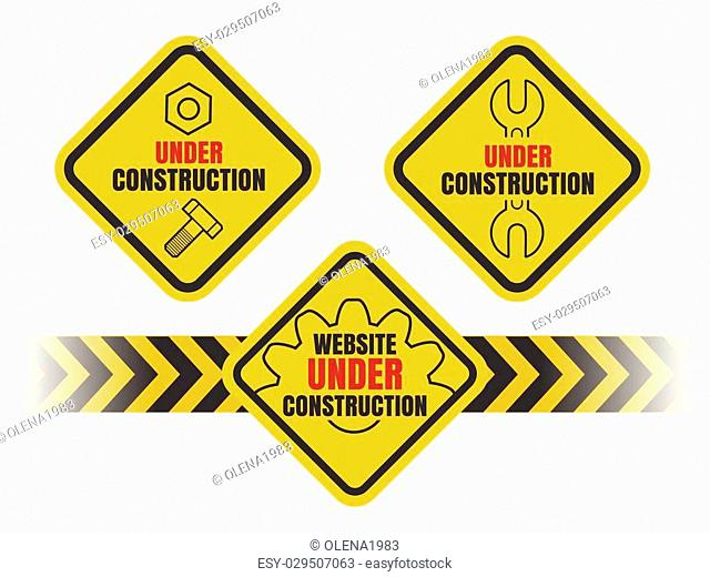 Colorful Under Construction label or emblem set. Isolated on white