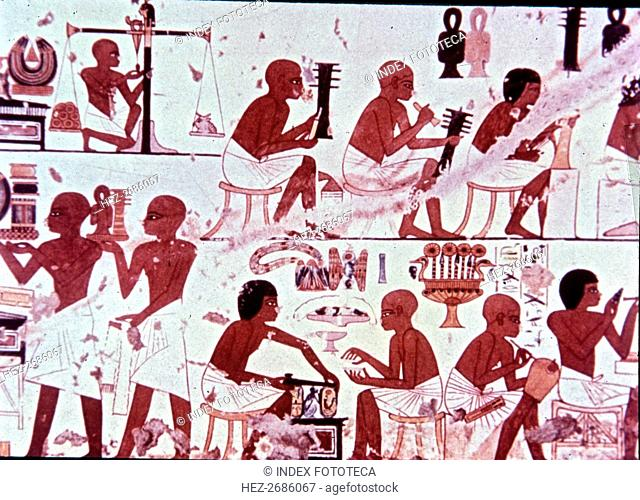 Goldsmiths presenting his works, fresco from the Tomb of Nebamun and Ipouky