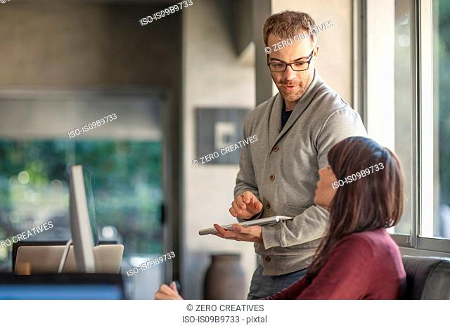 Businesswoman and man meeting at home desk