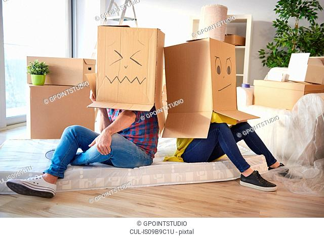 Young couple at home, wearing cardboard boxes on heads, faces drawn on boxes