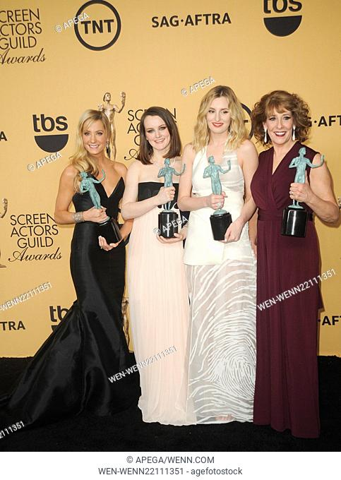 21st Annual Screen Actors Guild Awards Pressroom Featuring: Phyllis Logan, Laura Carmichael, Joanne Froggatt, Sophie McShera Where: Los Angeles, California
