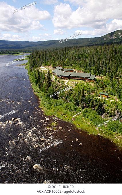 Aerial view of Rifflin'Hitch Lodge, Eagle River, Southern Labrador, Newfoundland & Labrador, Canada