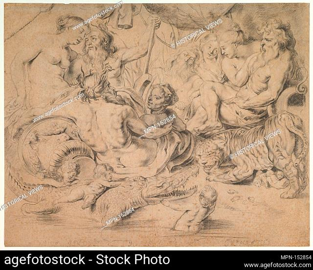 The Nile, Indus, Tigris and Euphrates rivers. Artist: Anonymous, Flemish, 17th century; Artist: After Peter Paul Rubens (Flemish