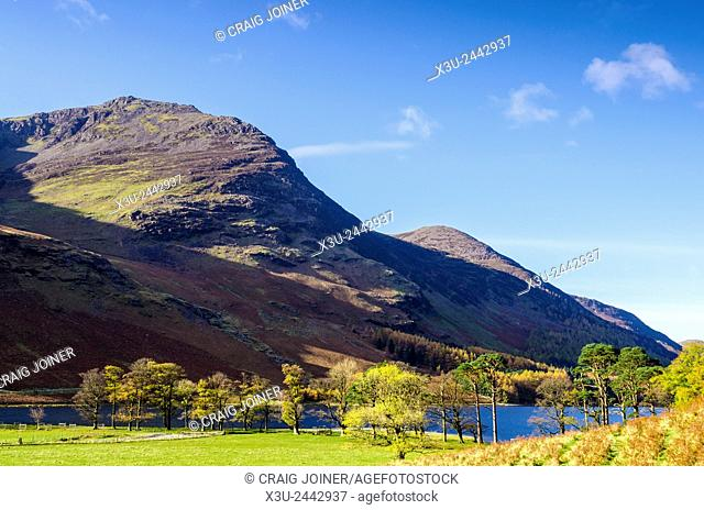 High Stile and Dodd fells overlooking Buttermere lake, Lake District, Cumbria, England