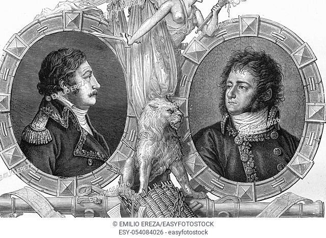 Portraits of Charles François Joseph Dugua, French general, Born 1740, died 1802, and Jean-Antoine Marbot, General of Division, born 1754, died 1800