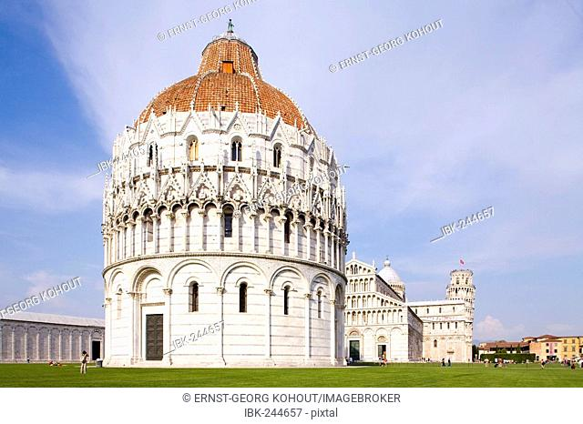 Dome of Pisa with leaning tower in the background, Tuscany, Italy