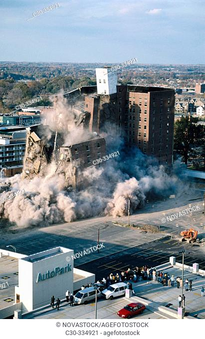 Building destroyed by implosion. Hotel Charlotte. Charlotte, North Carolina. USA