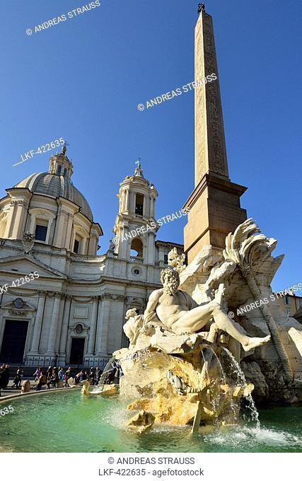 Fontana dei Quattro Fiumi, Fountain of the Four Rivers, artist Bernini, in front of church Sant'Agnese, Piazza Navona, UNESCO World Heritage Site Rome, Rome