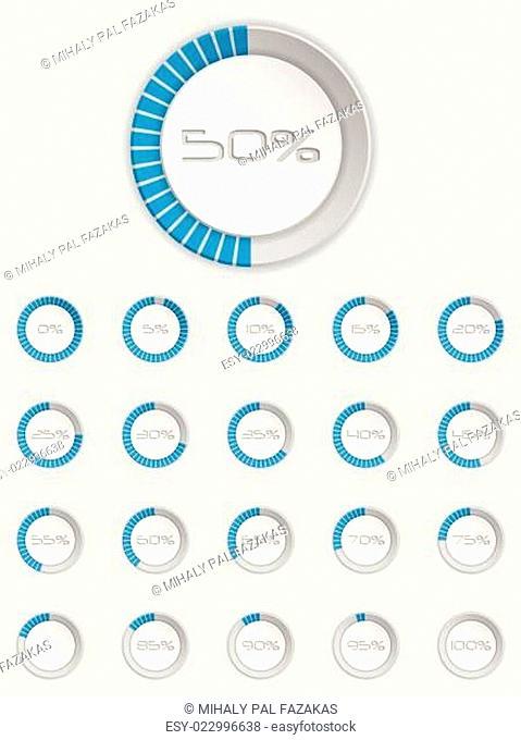 Cool 3d loader icon set in blue