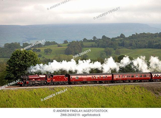 Settle to Carlisle Railway. Steam locomotive LMS Jubilee Class 45699 Galatea. Lazonby, Eden Valley, Cumbria, England, UK