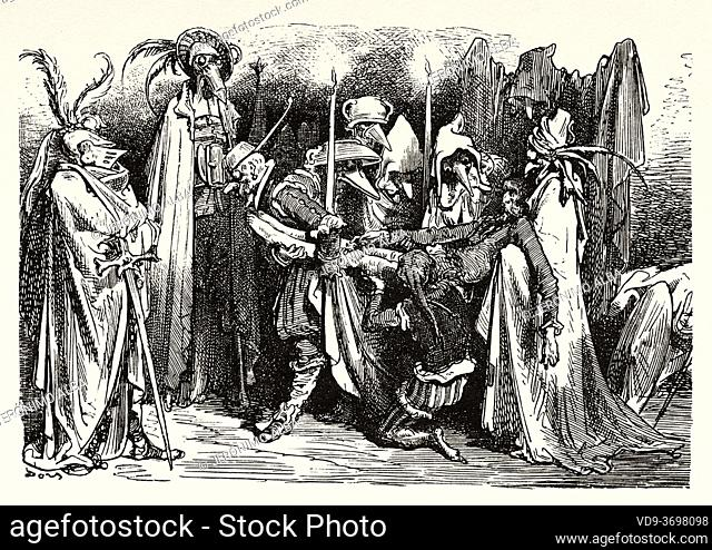 Prosecuting the course of Don Quixote's enchantment. Don Quixote by Miguel de Cervantes Saavedra. Old XIX century engraving illustration by Gustave Dore