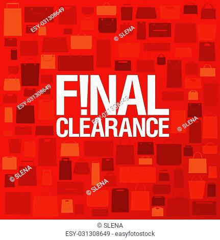 Final clearance background with shopping bags pattern