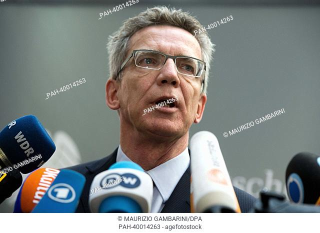 German Minister of Defence Thomas de Maiziere (CDU) gives a press statement after a meeting of the defence committee of the German Bundestag at Paul-Loebe-House...