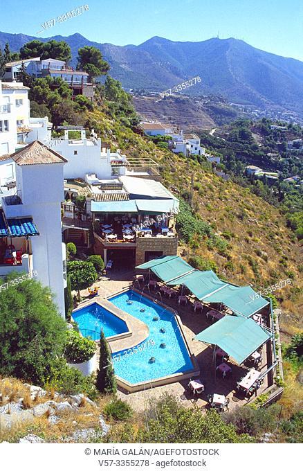 Hotel and landscape. Mijas, Malaga province, Andalucia, Spain
