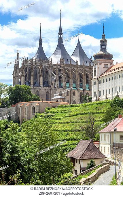 Jesuit College and Gothic Church Cathedral St Barbora, Kutna Hora,UNESCO, Bohemia, Czech Republic