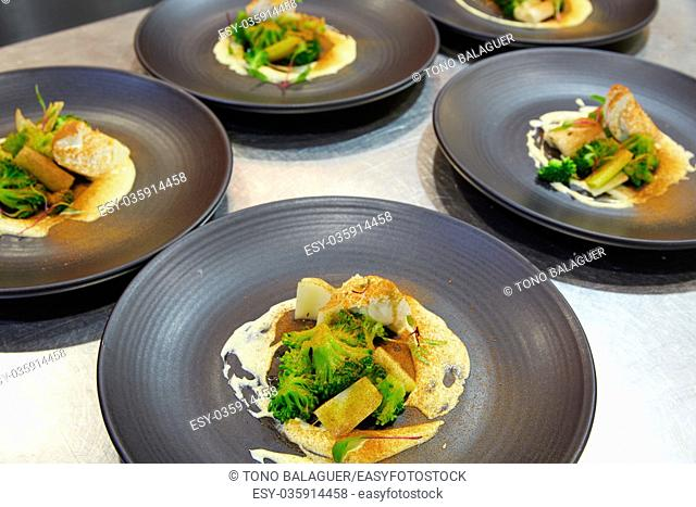 cuttlefish with prawn mayonnaise and broccoli