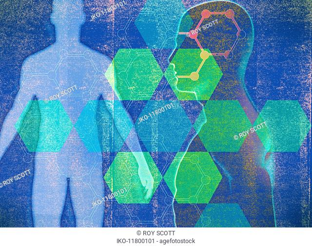 Geometric pattern over male human body silhouette