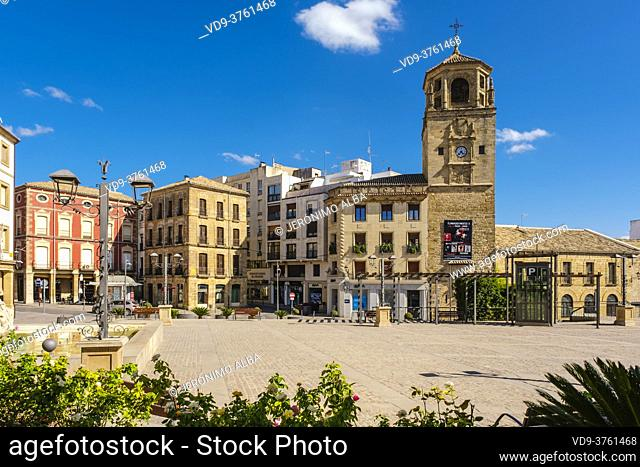 Clock tower at Andalusia Square, Ubeda, UNESCO World Heritage Site. Jaen province, Andalusia, Southern Spain Europe