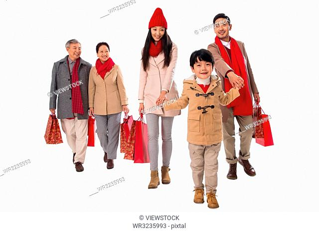 Happy family shopping in the New Year