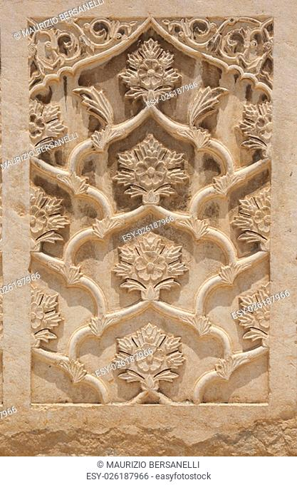 Islamic decorations. Front door of the Vakil Mosque, Shiraz, Iran. The mosque was built between 1751 and 1773 during the Zand period